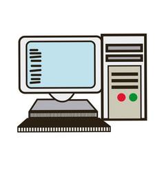 Computer monitor keyboard processor tower image vector