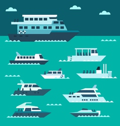 Flat design of boat set vector
