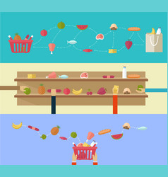 Food products concept shopping in the supermarket vector