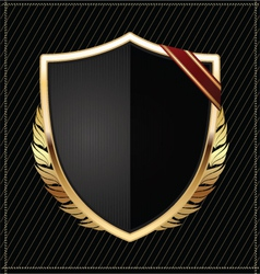 Golden shield vector