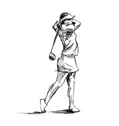 Hand sketch woman playing golf vector
