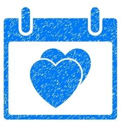 Hearts calendar day grainy texture icon vector