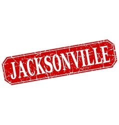 Jacksonville red square grunge retro style sign vector
