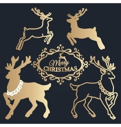 Merry christmas lettering golden reindeers vector