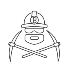 Miner logo mining bitcoin crypto currencies vector