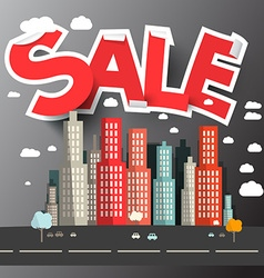 Sale title above city vector