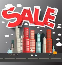 Sale Title above City vector image