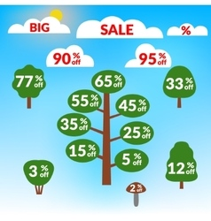 sale tree on blue background vector image