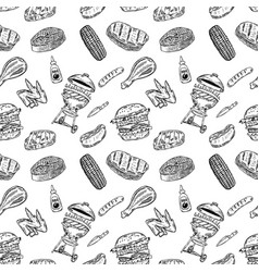 seamless pattern bbq and grill design element for vector image