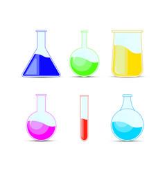 set chemical flask bottles potions for halloween vector image