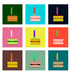 Set pixel icons of french fries and sauce vector