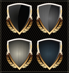 Shields with laurel wreaths vector