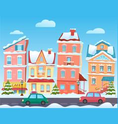 winter cartoon city landscape christmas vector image