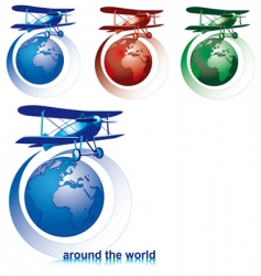 world with plane vector image vector image
