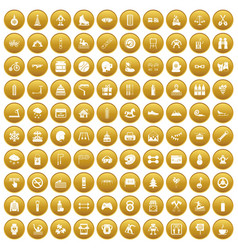 100 children activities icons set gold vector image vector image