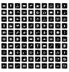 100 media icons set grunge style vector