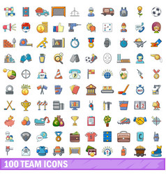 100 team icons set cartoon style vector