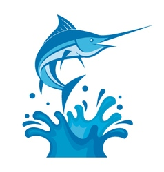 swordfish on waves vector image