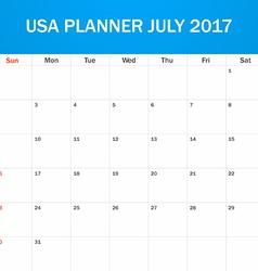 Usa planner blank for july 2017 scheduler agenda vector