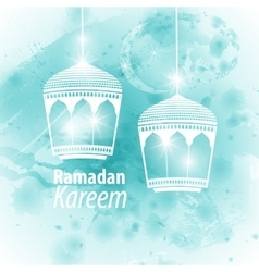 Watercolor light blue blob ramadan kareem vector