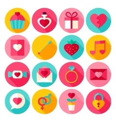 Valentine day flat icons vector