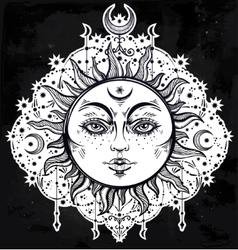 Boho Sun Vintage decorative drawing vector image