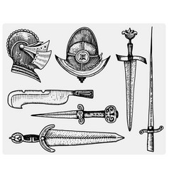Medieval symbols helmet and swords knife vintage vector