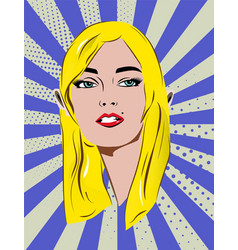 Beautiful retro blonde girl with speech bubble vector
