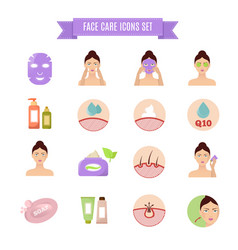 healthy skin and care flat icons vector image