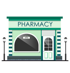 Facade of pharmacy store isolated vector