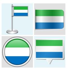 Sierra Leone flag - sticker button label vector image