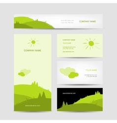Business cards design with green meadow background vector