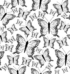 Seamless black and white butterflies background vector image