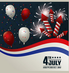 4th july independence day card balloons fireworks vector