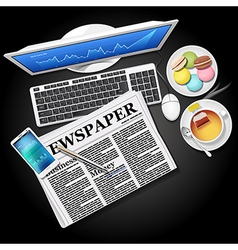 Stock graph on computer and phone with newspaper vector