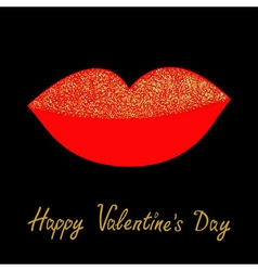 Big full thick red lips with gold glitter on black vector