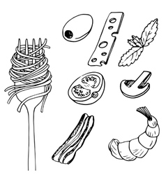 Fork with spaghetti vector