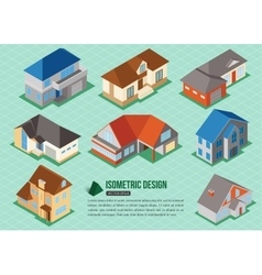 Set of 3d isometric private house icons for map vector