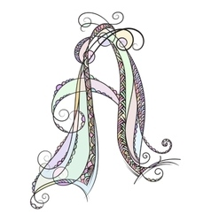 Zentangle monogram a doodle colorful alphabet vector