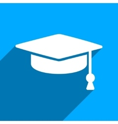 Graduation Cap Flat Square Icon with Long Shadow vector image