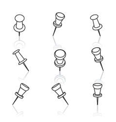 Set of pushpins vector