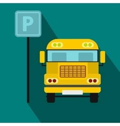 Parking sign and yellow bus icon flat style vector