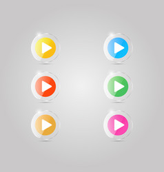 a set of colored glass icons of the player vector image vector image