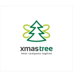 Abstract xmas tree with wings logo icon concept vector