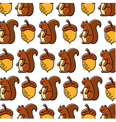 autumn squirrel acorn natural seamless pattern vector image