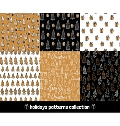 Big holiday hand drawn patterns set collection of vector