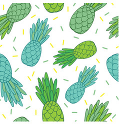 blue green pineapples doodle texture summer vector image