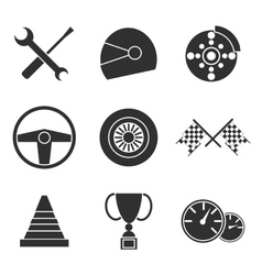 Car racing flat icons set vector image