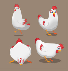 chicken animal cartoon pose set vector image