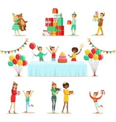 Children birthday party set of scenes vector